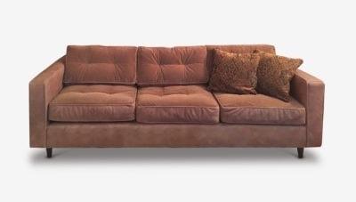 Jack Low Profile Mid-Century Sofa In Peachy Pink Velvet