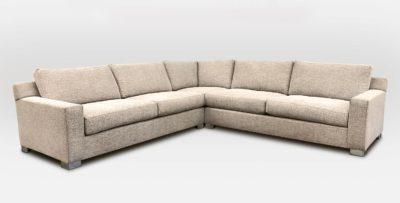 Custom Track Arm Modern Sectional Sofa In Crypton Chili Crème Brulee Duato Fabric