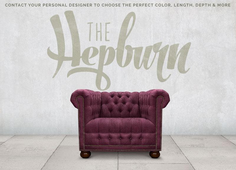 The Hepburn Aubergine Wool Tufted Seat Chesterfield Armchair