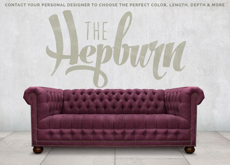 The Hepburn Aubergine Wool Tufted Seat Chesterfield Sofa