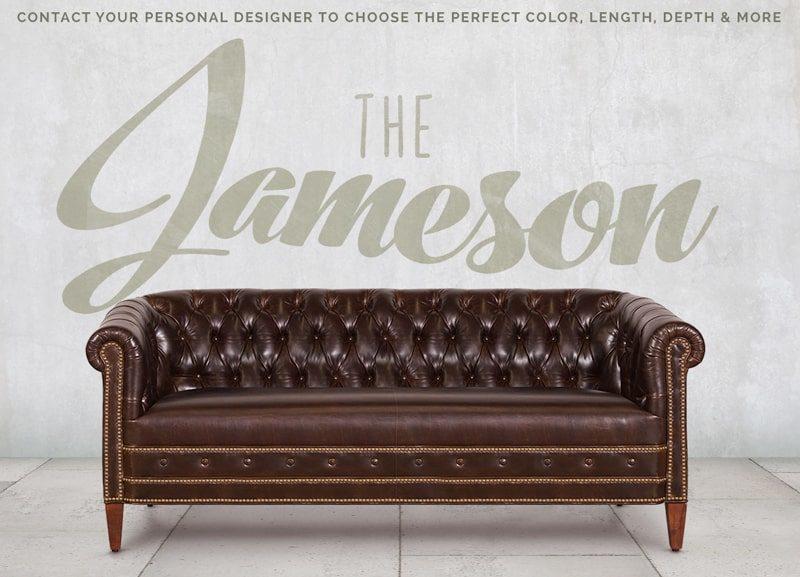 Jameson Barrel Chesterfield Sofa in Dove Brown Leather