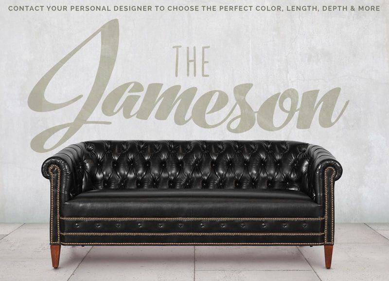 Jameson Tufted Mont Blanc Midnight Black Leather Barrel Sofa