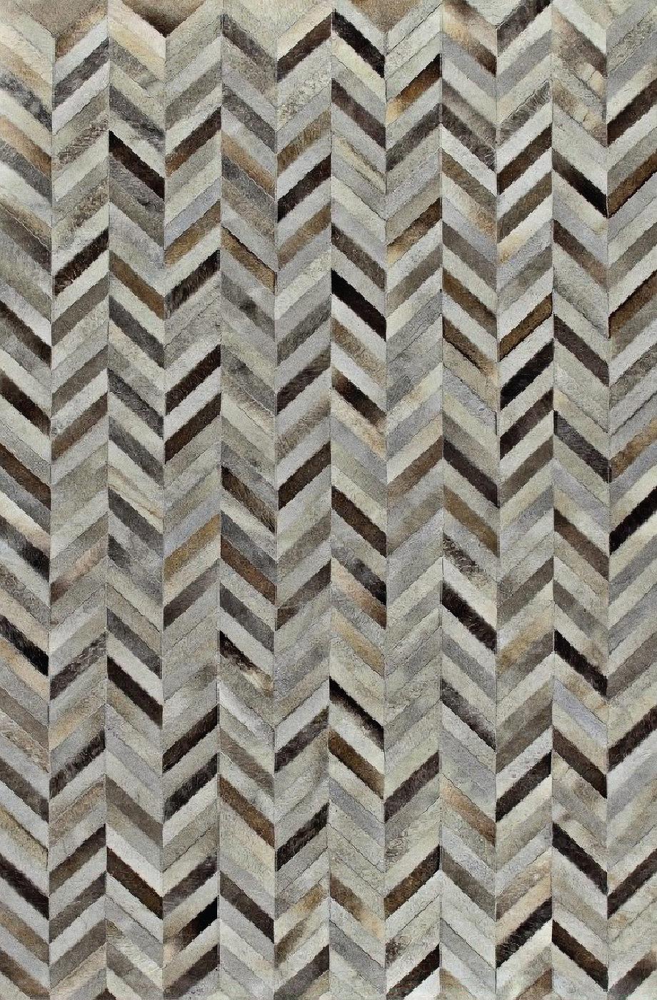 Chevron Brulée 5'x8' patchwork hair on hide rug