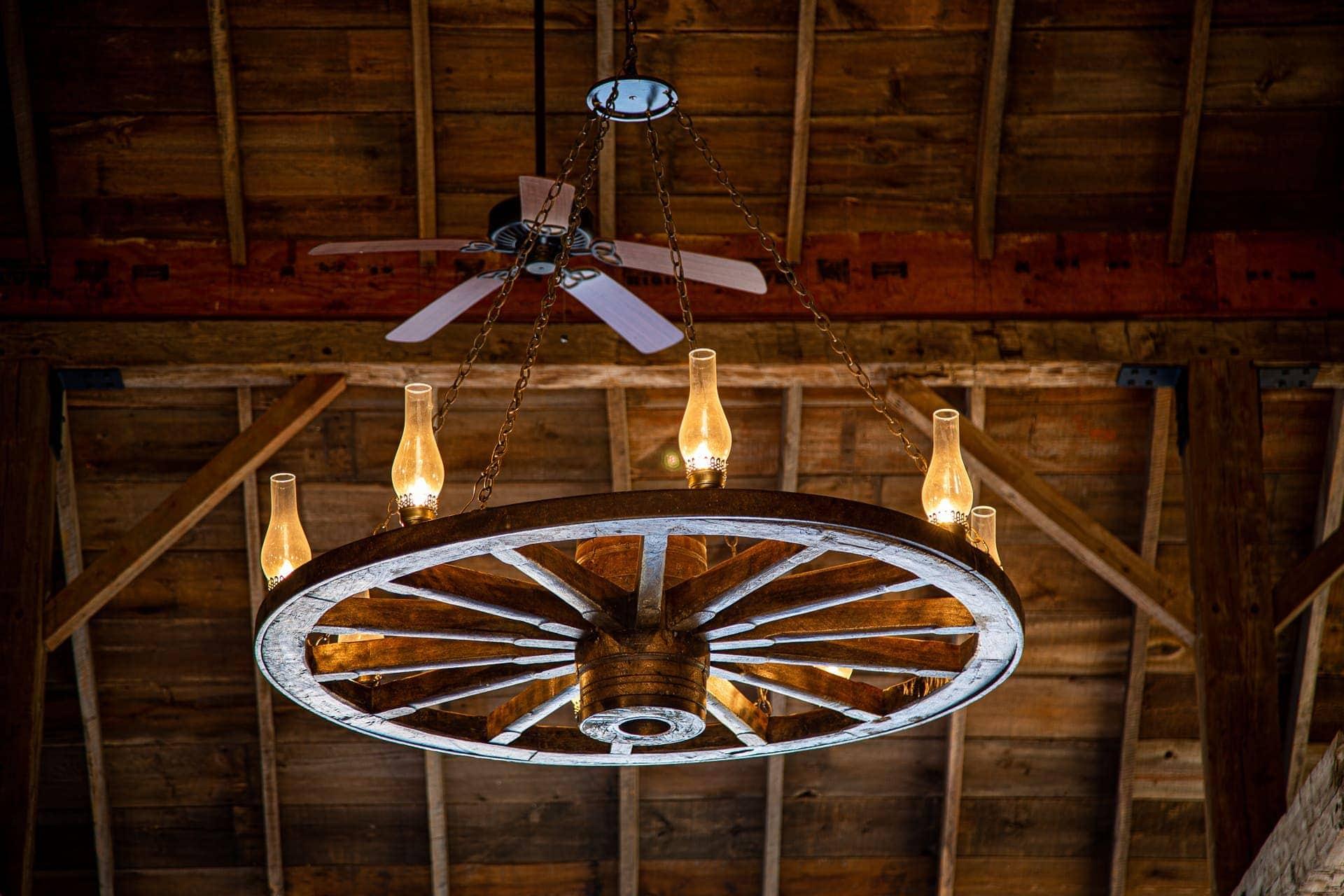 Vintage Chandelier in the Barn at Esperanza Ranch