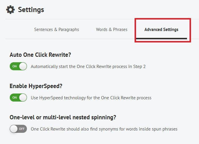 Spin Rewriter advanced settings tab.