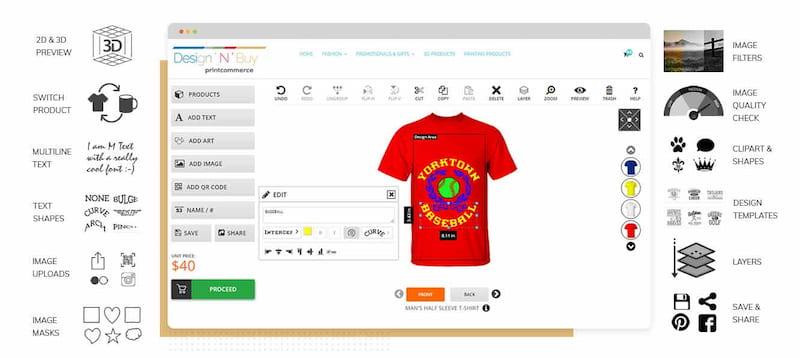 Design'N'Buy's t-shirt designer.