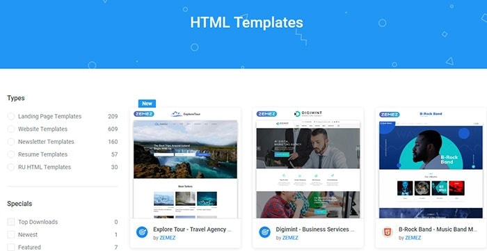 HTML templates one membership