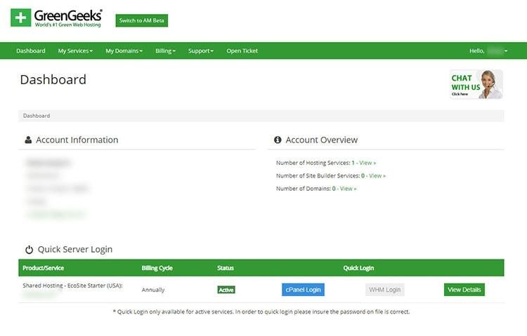 green geeks account dashboard