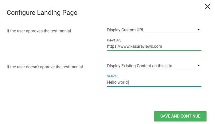 configure landing page for testimonials