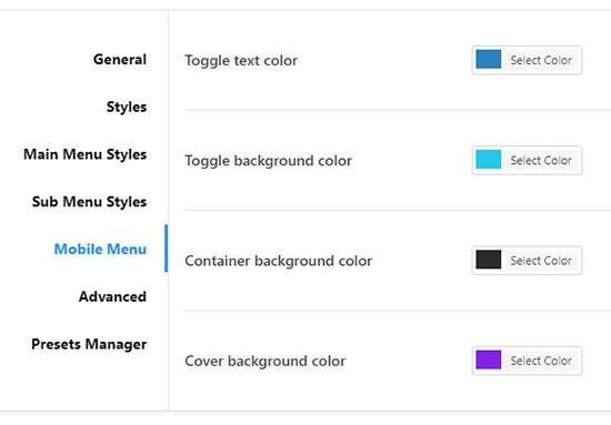 jetmenu mobile menu settings
