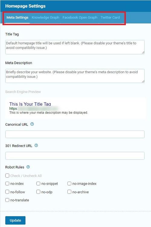 seopressor plugin homepage settings