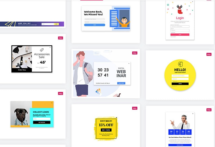 elementor popup templates examples