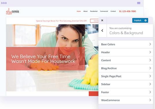 astra theme user interface