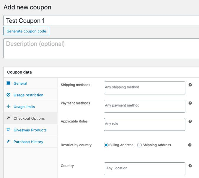 Create WooCommerce country based coupons.