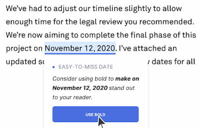 Grammarly correct date feature.