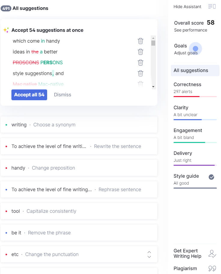 Grammarly suggestions example.
