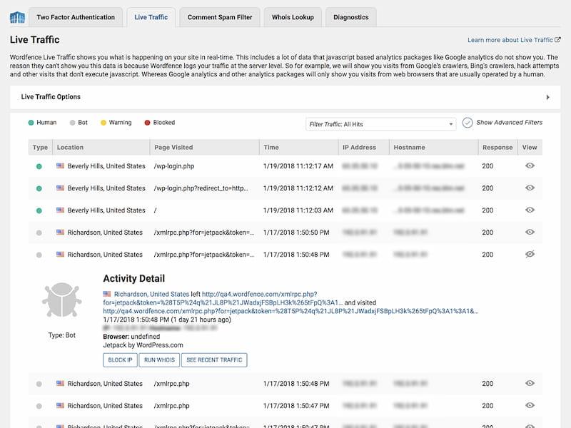 Monitor live traffic using Wordfence.