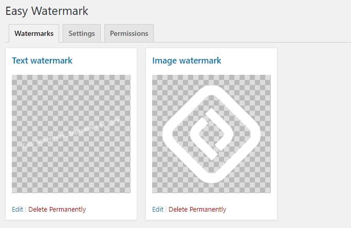 Text watermark WordPress plugin.
