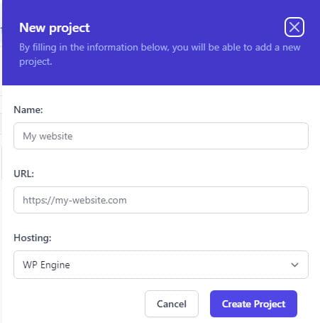 WP Umbrella create project.