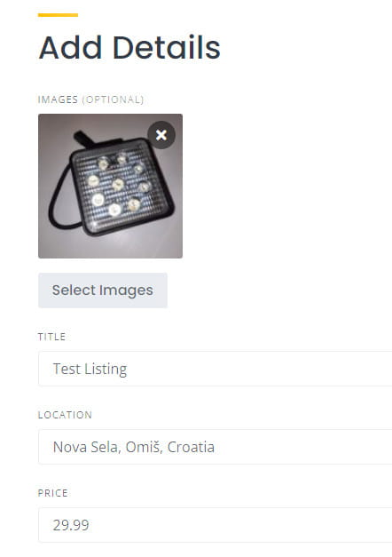 HivePress adding images to the listing.