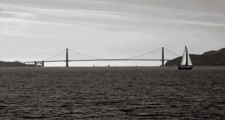Black and White Picture of Golden Gate Bridge in SF