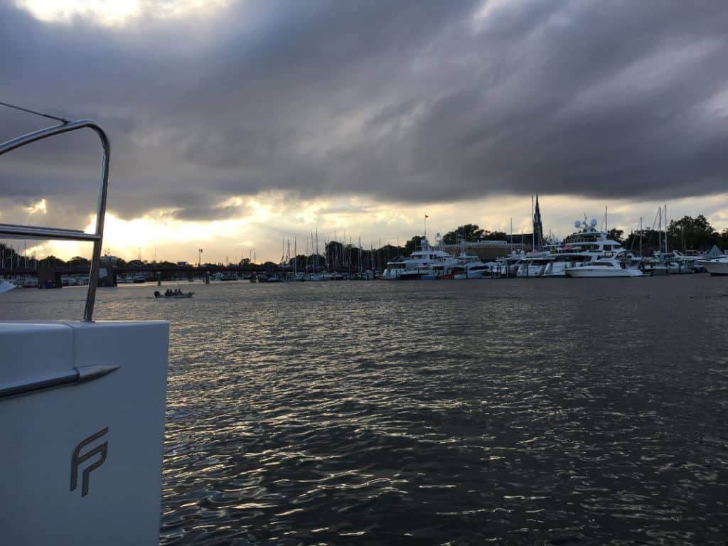 Rain clouds in Annapolis boat show