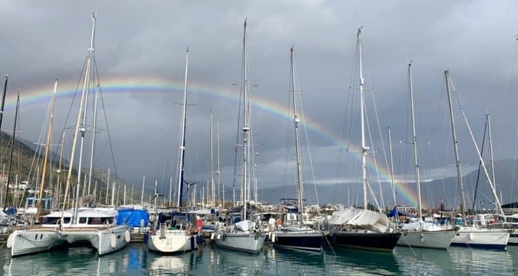 Marina with a lucky rainbow