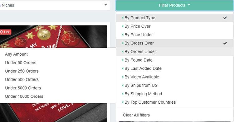 Nexus filter products option.