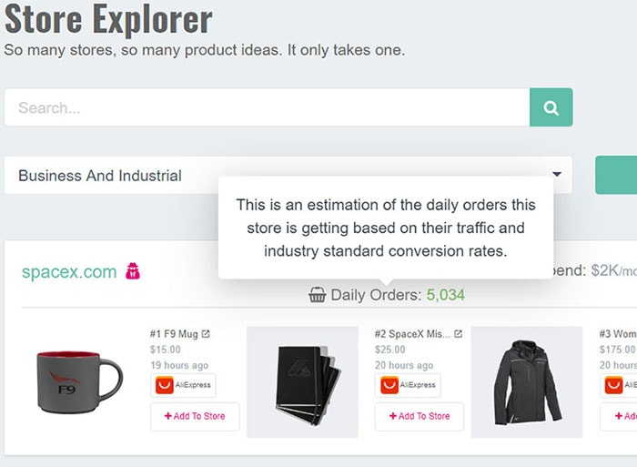 Shopify Stores Explorer dashboard.