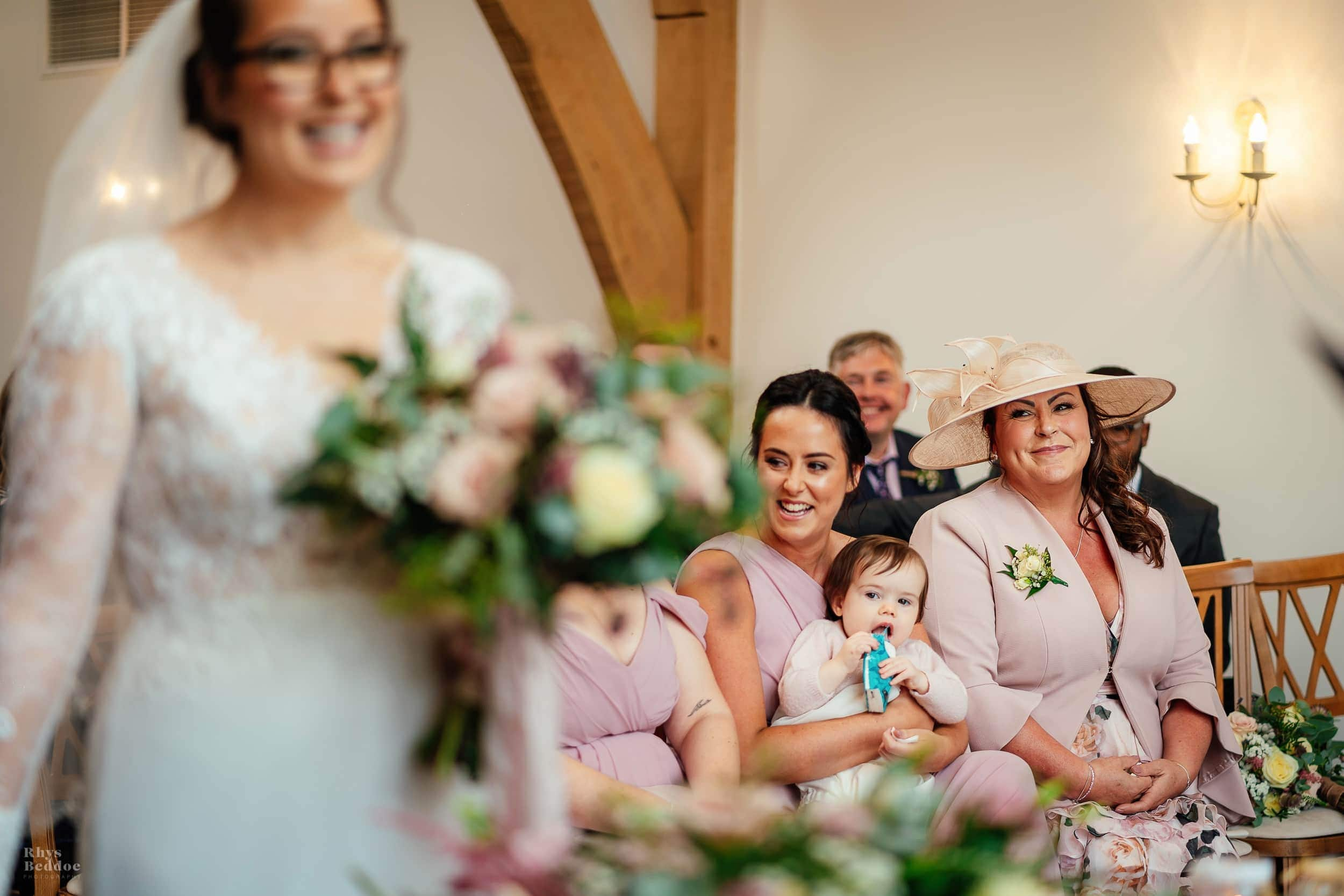 Mother of the bride crying at mythe barn