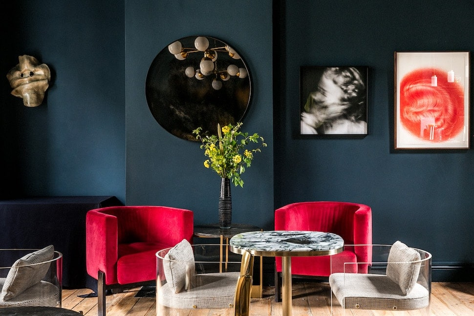 Seating area at AllBright Rathbone Place private members' club in London