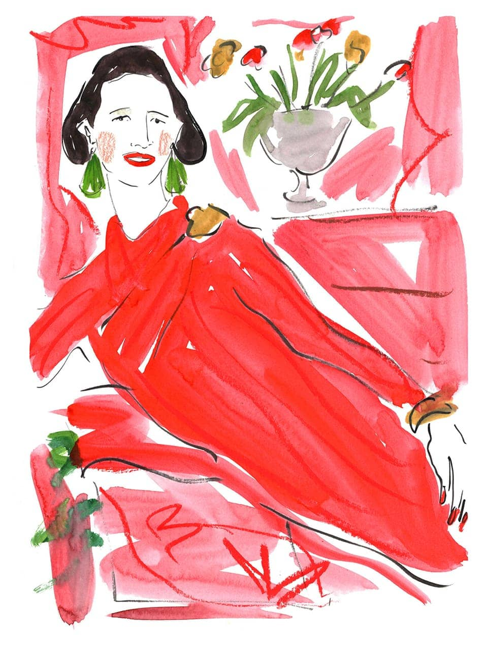 An illustration of Diana Vreeland by Luke Edward Hall, taken from a new book about the fashion editor, Bon Mots