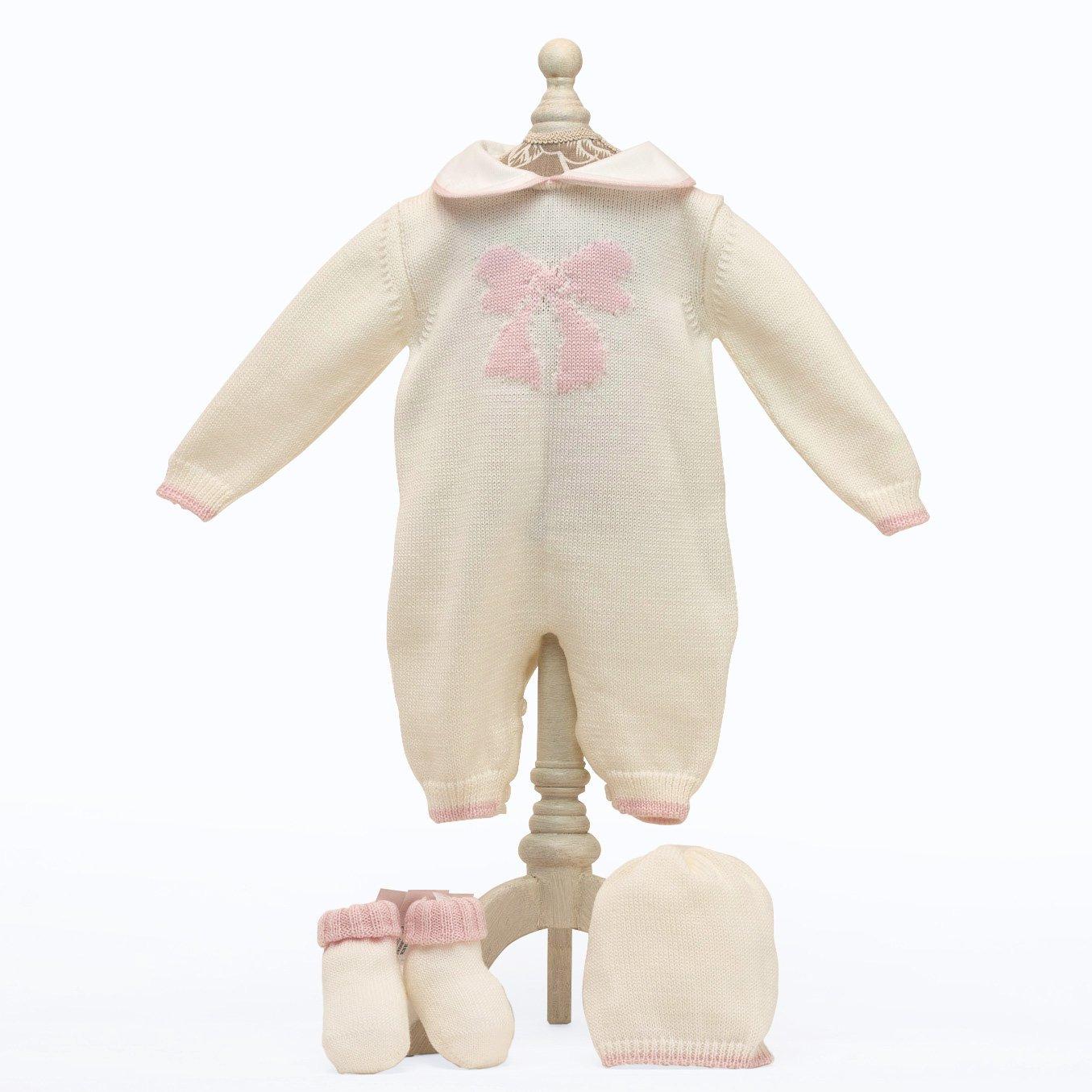 Babyshop - Baby Erstlings Set - Strickoverall, Haube und Söckchen