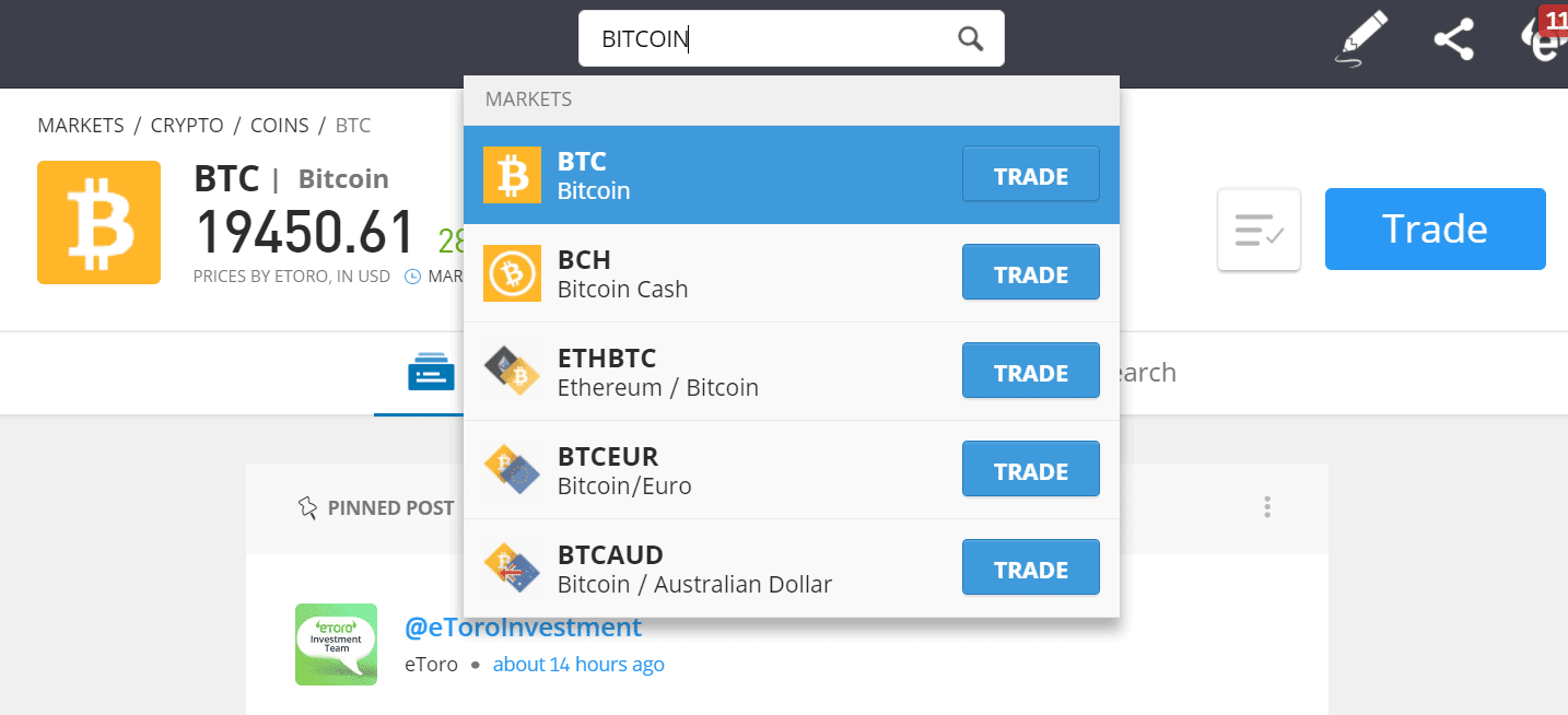 Buy Bitcoin on eToro