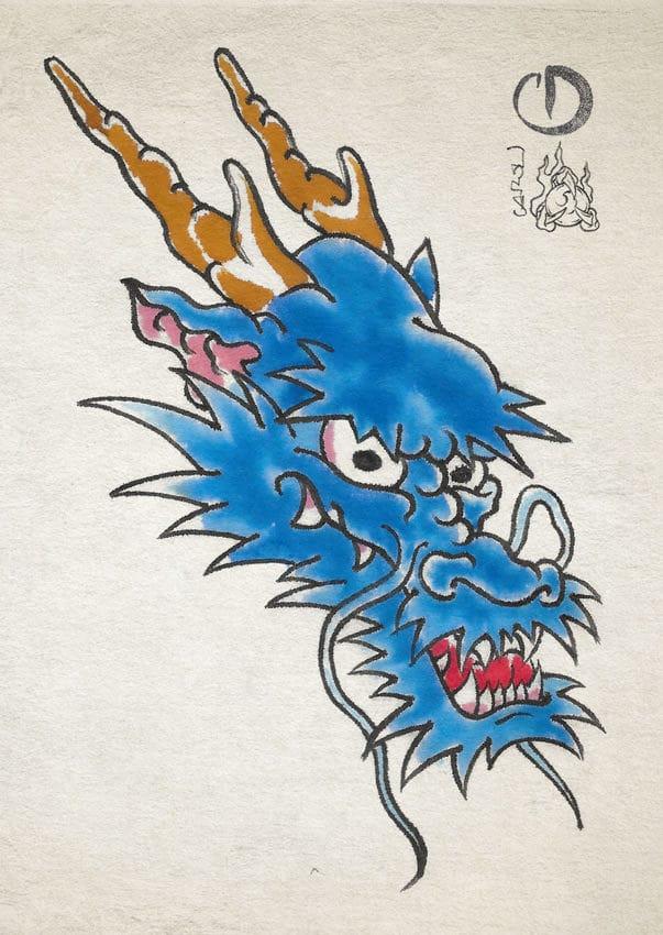 Cabeza de Dragón Azul