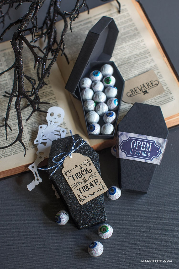 DIY paper coffin treat boxes for Halloween
