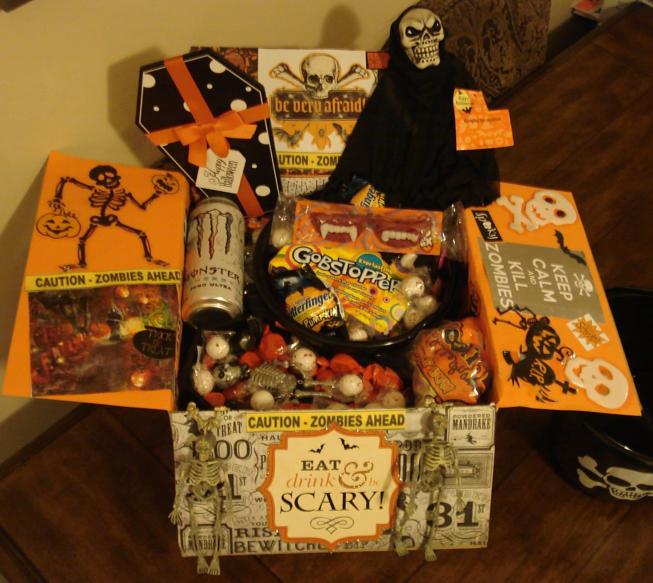 Eat drink & be scary care package idea