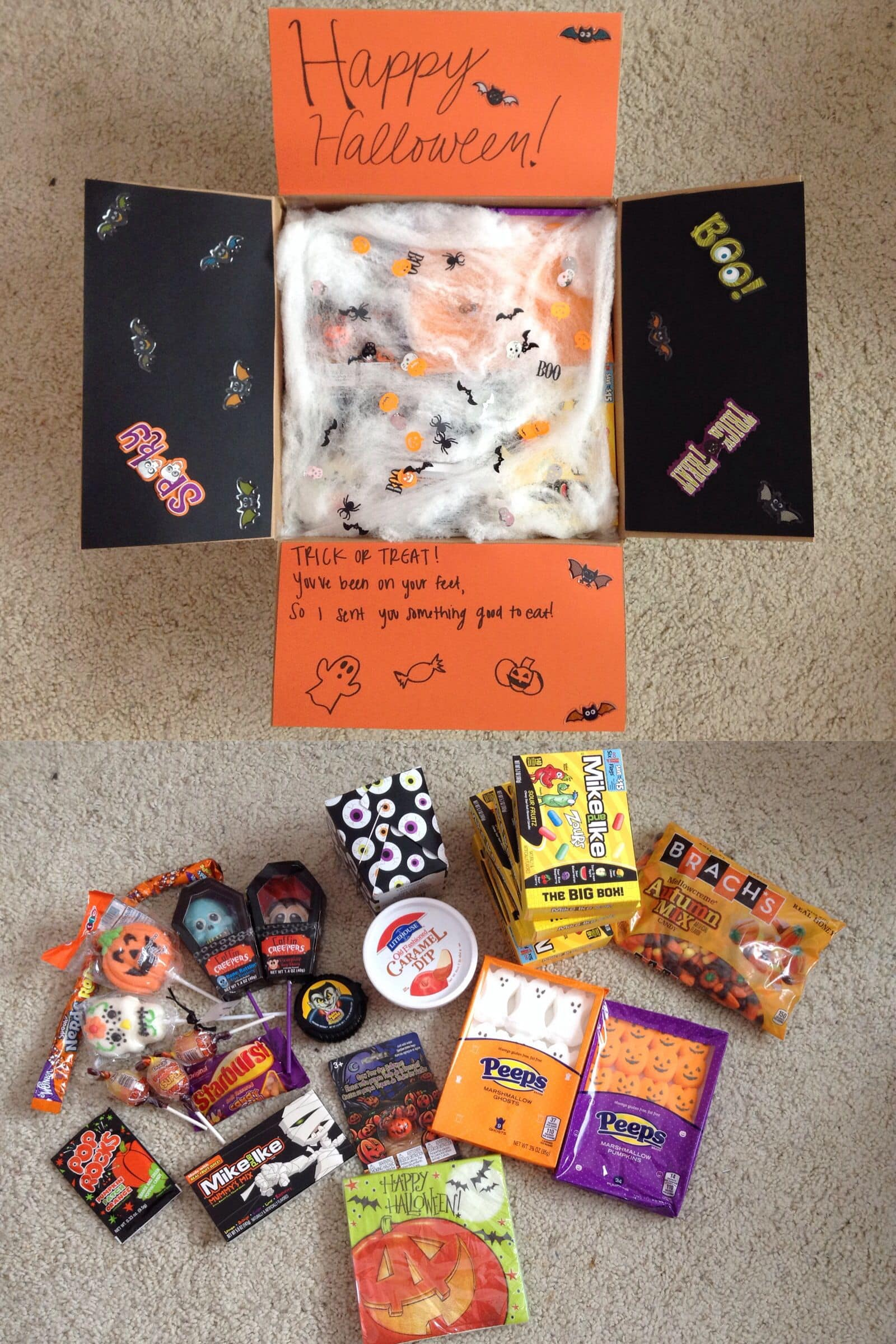 goodies in a Halloween care package