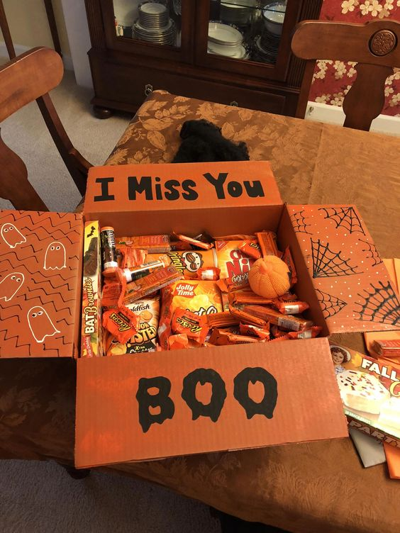 I miss you boo college care package idea