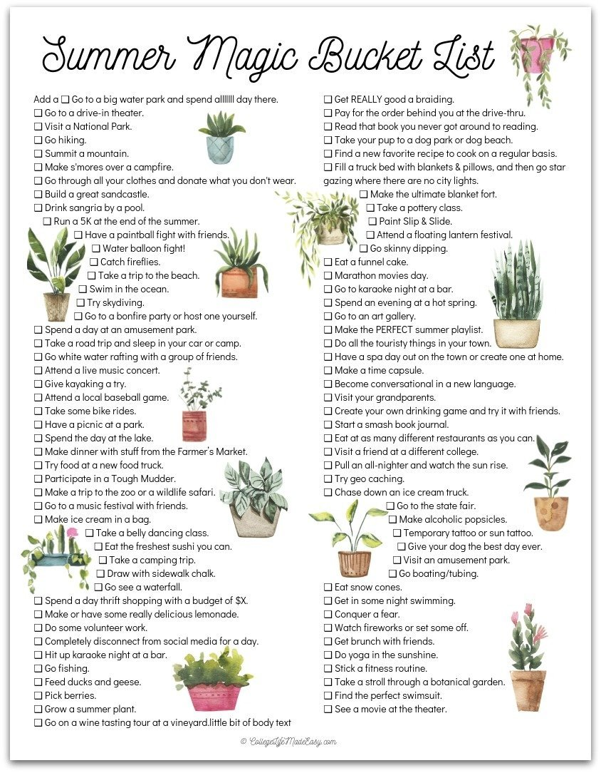 Summer Magic Bucket List - free printable! Click to download the PDF. #bucketlist #thingstodo #summer #printable #freeprintable