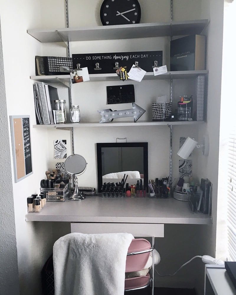 college desk with organized makeup