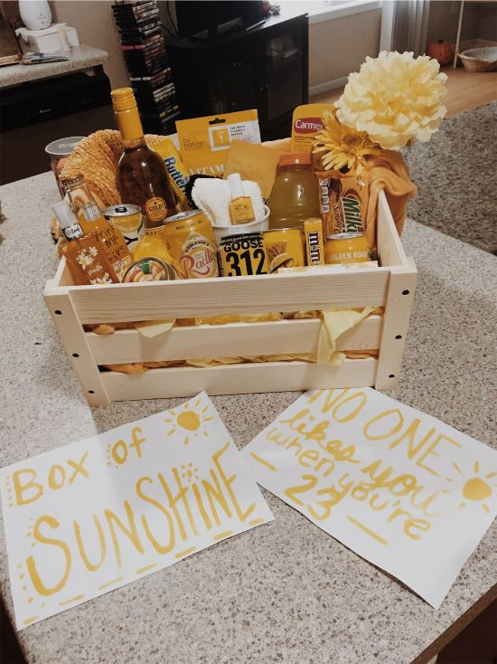 birthday idea for a box of sunshine, no one likes you when're 23
