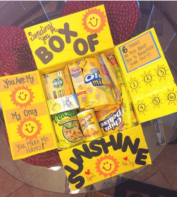"yellow box with words ""box of sunshine"""
