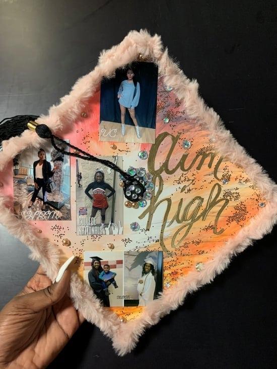 aim high graduation cap designed by a single mom