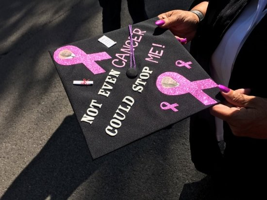 """inspiring mother grad cap """"not even breast cancer could stop me!"""""""