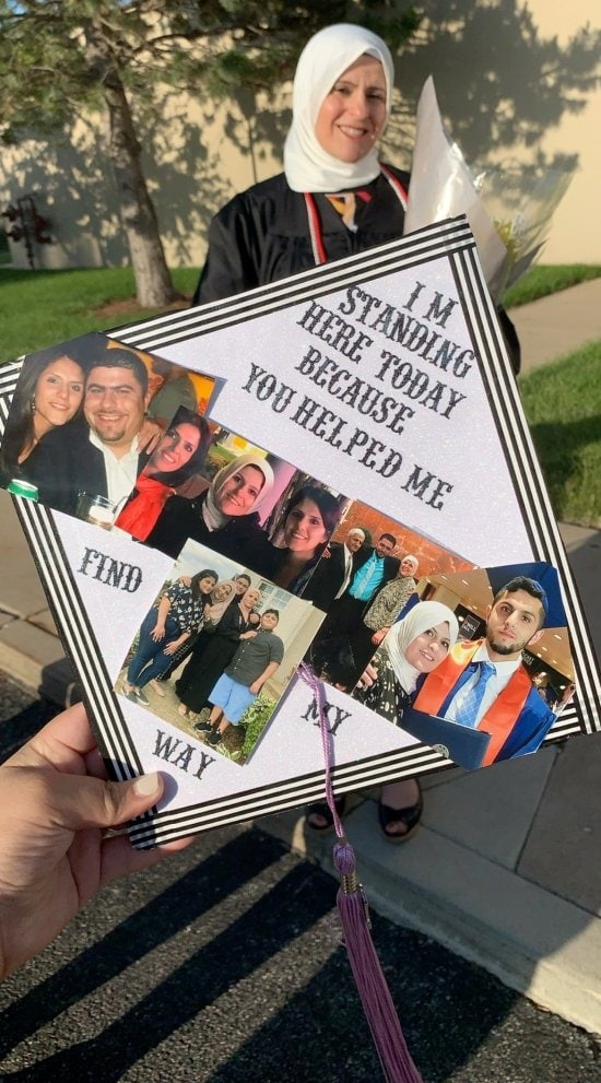 mother's grad cap decorated with pictures of family and quote