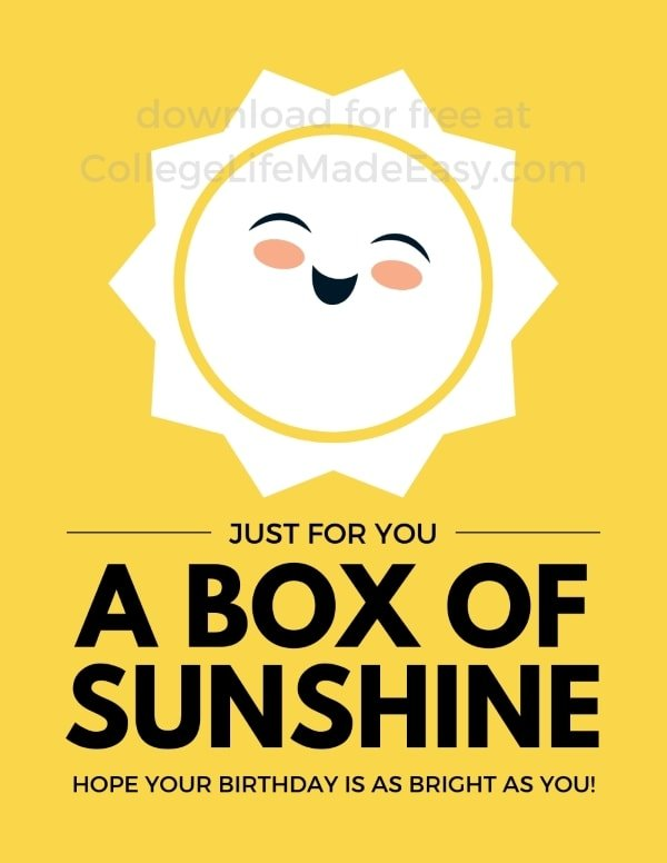 free printable design for a little box of sunshine