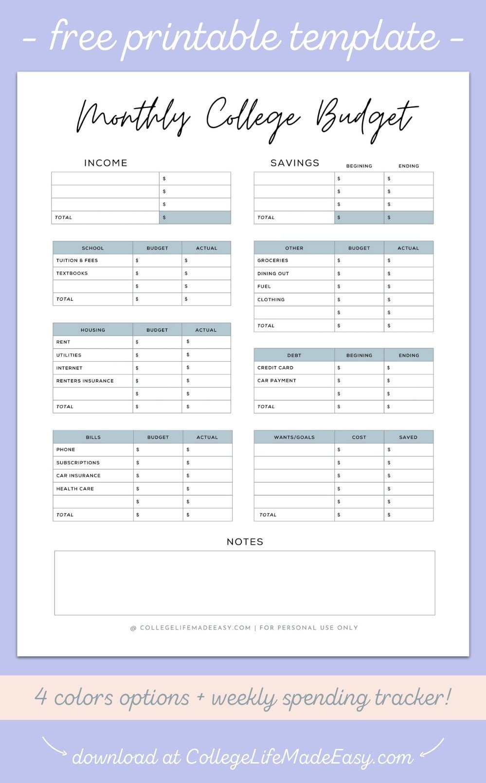 free printable college budget template infographic to save to Pinterest