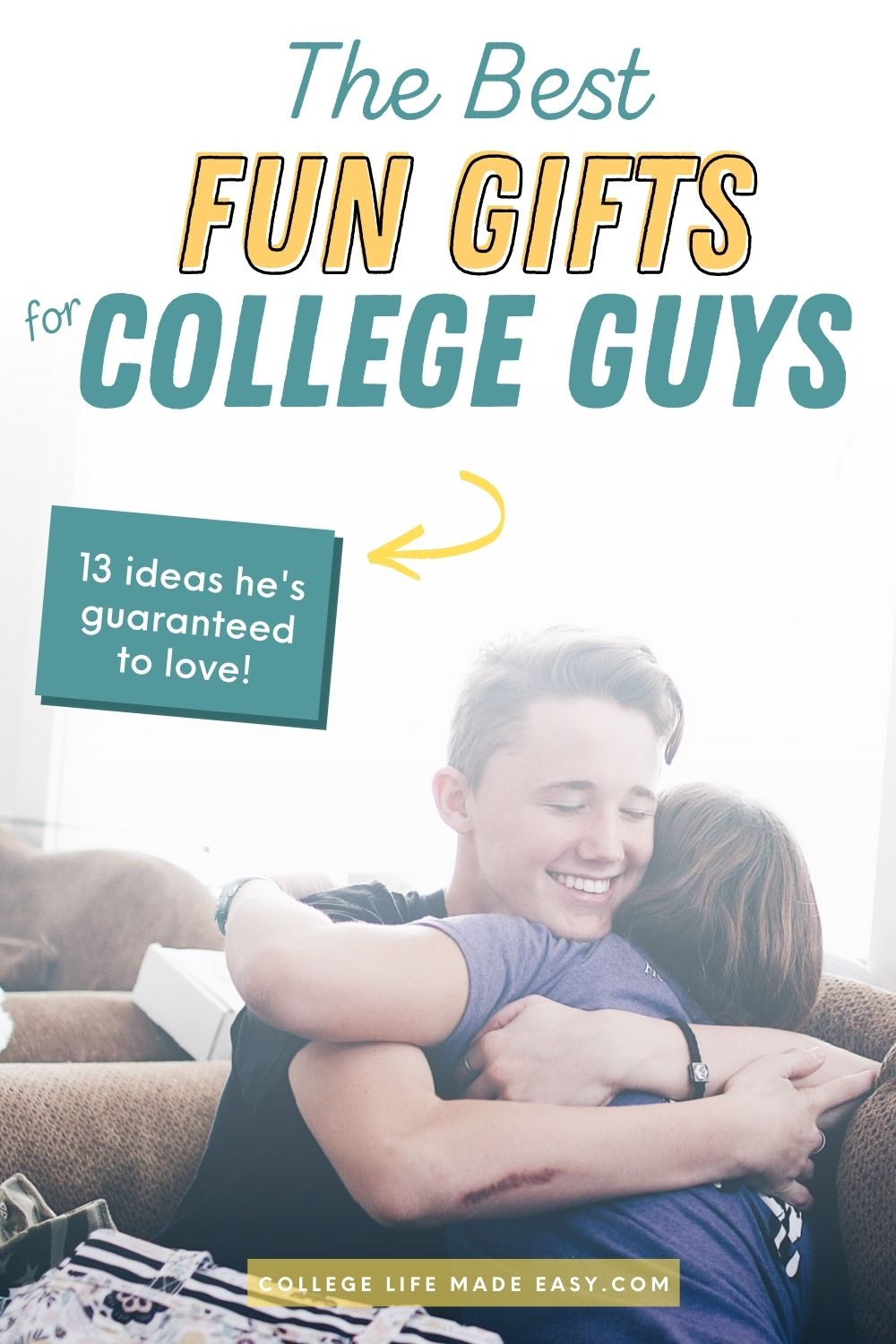 the best fun gifts for college guys - Pinterest infographic