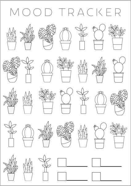 bullet journal mood tracker template with cute plant graphics